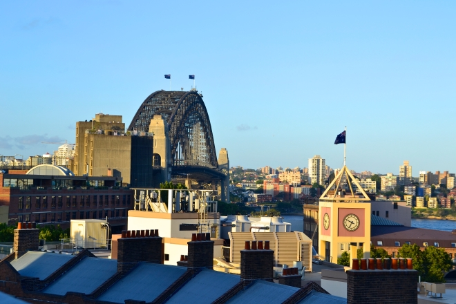 Evening view from the top of our Hostel - YHA Sydney Harbor